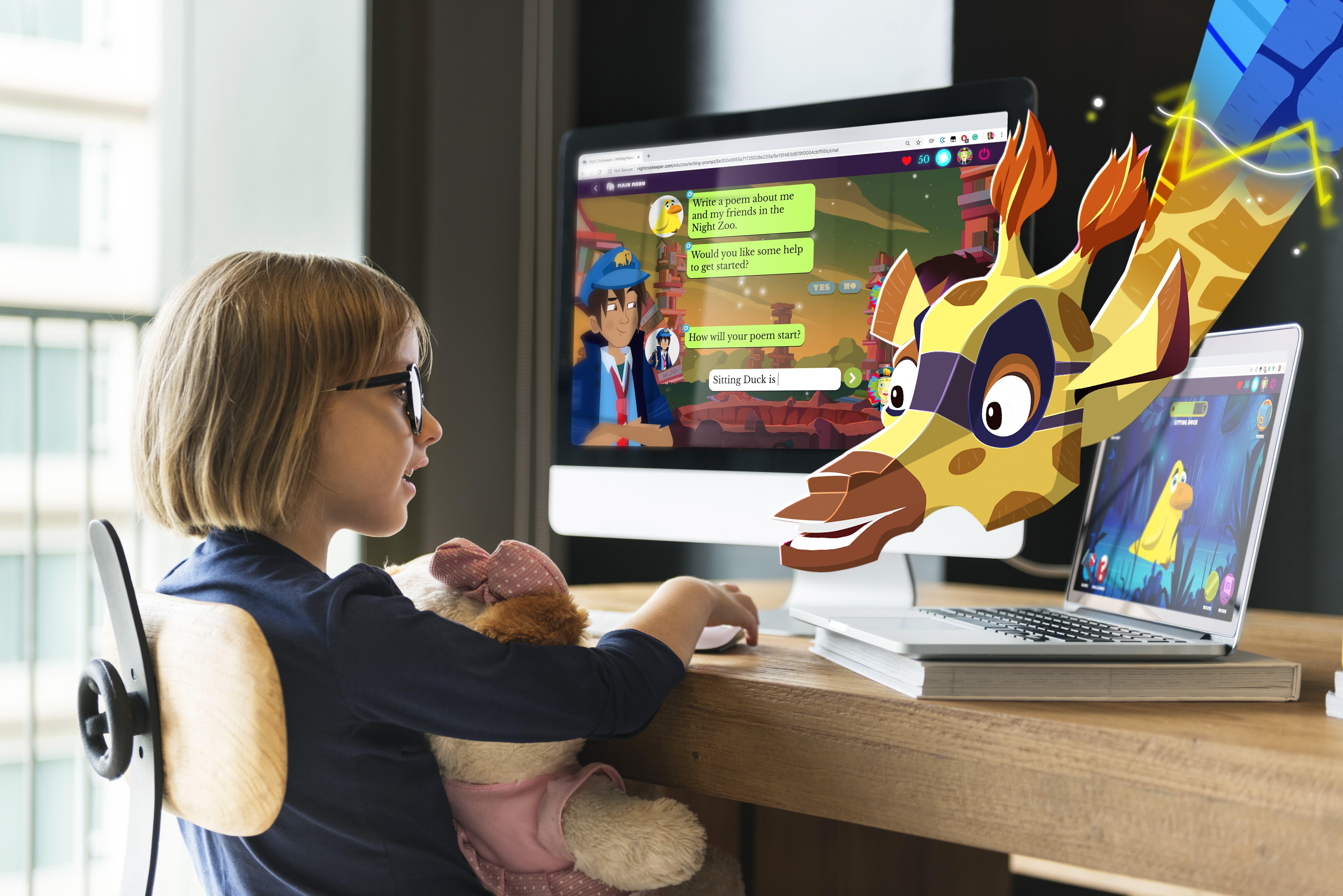Girl on computer.