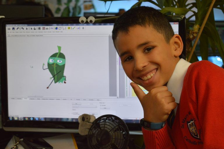 Child with Ninja Leaf Drawing