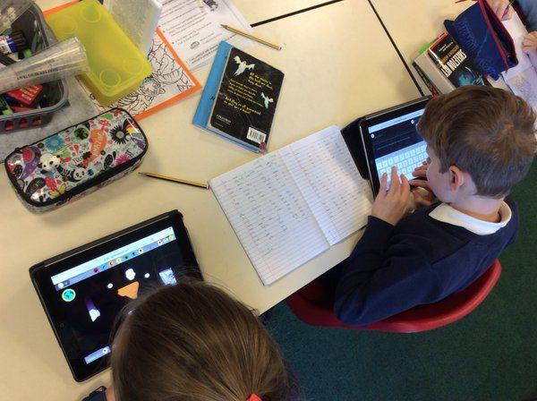 Students on iPads.
